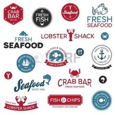 Set of vintage and modern seafood restaurant labels photo