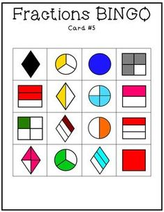 Fractions BINGO game set! Fractions used are 1, 1/2, 1/4, 3/4, 1/3, 2/3. $