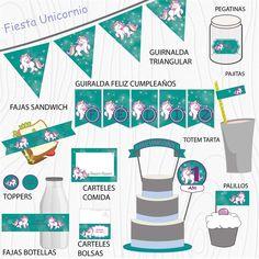 Imprimibles Unicornio verde  #Fiesta #cumpleaños #printables #niños #etiquetas #plantillas #niños Map, Chopsticks, Garlands, Unicorn, Happy Birthday, Printables, Stickers, Party, Location Map
