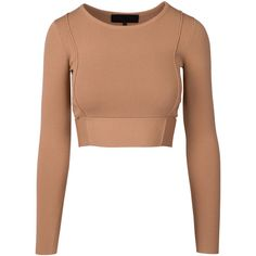 COMPACT CROP L/S TOP ($168) ❤ liked on Polyvore featuring tops, crop tops, blusas, shirts, white top, cropped long sleeve shirt, white long sleeve top, long-sleeve shirt and cut-out crop tops