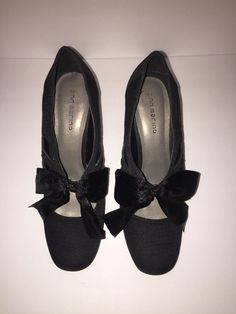 8bb7d690d064 Ann Marino Black Herringbone Fabric Bow Tie Heels Pumps Size 9 1 2 W