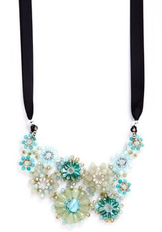 Wine and Fine Dine Crystal Necklace in Mint, #ModCloth