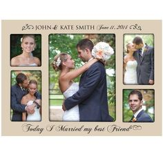 """Personalized Wedding Photo Frame for Bride & Groom Picture Frame Holds 2 -4x4 Photo & 1- 8x10 & 2-4x6 Photos """" Today I Married My Best Friend """""""