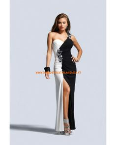 Belle robe simple blanche et noire col en V mousseline robe de soirée 2013