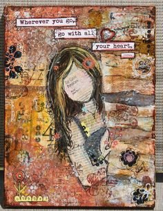 Art Journal - Altered Treasures - Assemblage Finds - Beautiful canvas - I just love this... altered art – altered treasure – assemblage – dimensional collage – assemblage finds – creative exploration #altered #assemblage #collage #dimensional collage