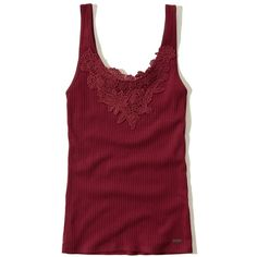 Hollister Must-Have Slim Lace Tank ($6.47) ❤ liked on Polyvore featuring tops, blusas, burgundy, red lace top, rib tank top, slimming tank top, lace tank and red singlet