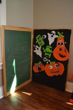 """This was another """"Pinterest project"""" that I created for our Bring Your Own Pumpkin party. While I'm more excited about this than Henry is for the time being, several of the other guest toddlers loved it and liked moving the faces around the board. I think Henry may like this type of activity better as …"""