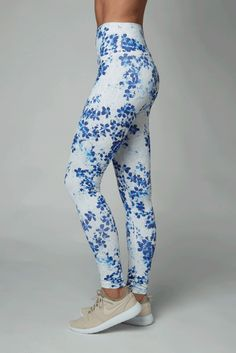 09a4b6775d5105 DYI Blue Floral Printed High Waisted Full Length Leggings South Of France,  Dyi, Floral