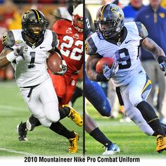 The special #WVU Nike Pro Combat uniforms from 2010...pictured here are Tavon Austin (1) and Jock Sanders (9)