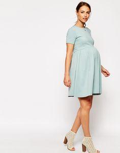 Image 4 ofASOS Maternity Slash Neck Skater Dress With Short Sleeve