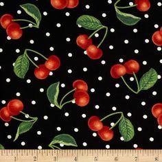 Moda Fresh Picked Cherries Black