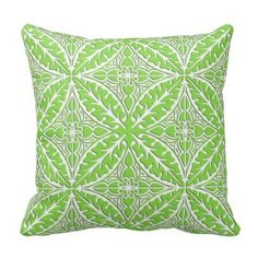 Moroccan tiles - lime green and white pillows - Green Throw Pillows *Fresh inventory added to site, visit www.prettythrowpillows.com to see all of our green throw pillows