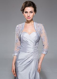 3/4-Length Sleeve Taffeta Tulle Special Occasion Wrap (013042464)