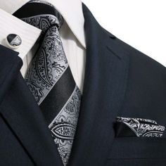 "3PC 100% Silk Necktie Set Black and Gray 59"" Length, 3.75"" Width"
