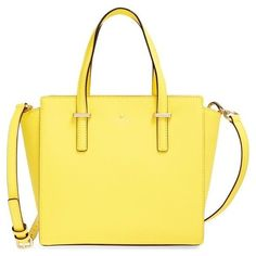 kate spade new york 'cedar street - small hayden' leather satchel (415 CAD) ❤ liked on Polyvore featuring bags, handbags, shoulder bags, solar yellow, genuine leather handbags, leather satchel handbags, yellow leather handbag, satchel shoulder bag and kate spade handbag