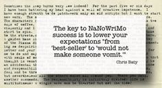 "The key to NaNoWriMo success is to lower your expectations from 'best-seller' to 'would not make someone vomit.'"" -NaNoWriMo founder Chris Baty"