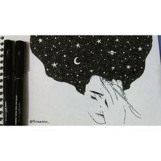 Te veo así. Como el universo. Intrigante. Fascinante. Misterioso. Imenso. Encantador. Y cada vez que lo veo, veo algo mas maravilloso. Y lo que sigo viendo no deja de impresionarme. #pointlism #stippling #art #drawing #draw #illustration #portrait #universe #galaxy #arte #desenho #ilustração #universo #galaxia #moon #tattoo #loveart #artlover #blackandwhite #ink