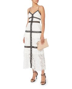 Self-Portrait Black Trim White Lace Maxi Dress White Lace Maxi Dress, Best Wedding Guest Dresses, Chic Dress, Black Trim, Cold Shoulder Dress, July Wedding, Sporty Chic, Portrait, My Style