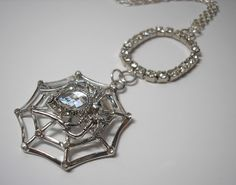 Spider Bling Halloween Necklace  Rhinestones  24 Inch by Analiese, $22.00