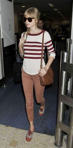 .Brown skinny pants,striped top