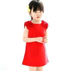 2-7Y Baby Girls Dress Party Princess Dress Floral Dress Sleeveless Sundress Dress