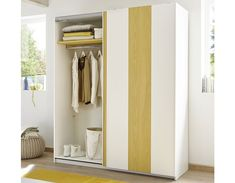 Armoire adolescent design blanc et jaune NATHEO Armoire Design, Entryway, Furniture, Home Decor, Teen, Yellow, Bedroom, White People, Entrance