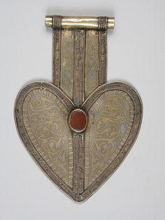 Turkoman silver and cornelian dorsal plate, 21 cm by 14 cm.