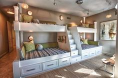 Extraordinary Wooden Bunk Beds Features Brown Mattress Bunk Bed And Whiate Rug Plus Small Black Chairs Furniture. Built In Bunk Beds Ideas Plants For Kids. Alocazia Awesome Home Design Ideas Bunk Bed Designs, Small Bedroom Designs, Design Bedroom, Nursery Design, Bunk Beds With Stairs, Kids Bunk Beds, Loft Beds, Four Bunk Beds, Trundle Beds