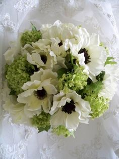 Silk Bouquet of Cream/white Anemones and Lime by modagefloral