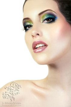 Did you ever think you could have one look that includes purple, yellow, green  blue??!! Why not? Use a primer or a wet brush when applying your bright loose mineral eye shadows to see the solid true colour. Have fun!!  -Marcella  www.bbinsideout.com