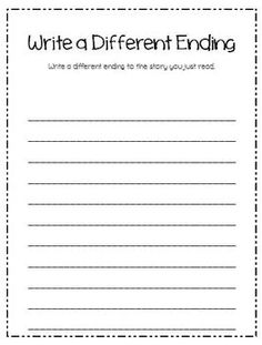 Guided Reading After Activities (Write a Different Ending)