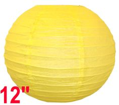"""12"""" Light Yellow Chinese Japanese Paper Lantern  Diameter: 12""""  Expanding with a metal frame  Bulb and cord are not included"""