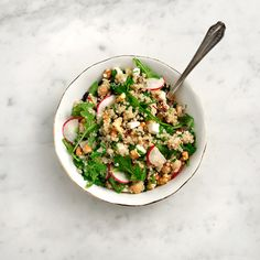 Quinoa and chickpea salad What you'll need: 2 cups cooked quinoa - 1/2 can of chickpeas, drained and rinsed - 2 cups of arugula or other leafy greens - 3 radishes - 1/4 cup sun dried tomatoes, chopped - 1/4 cup chopped walnuts - 1/2 cup chives - 1/4 cup basil - 1/4 cup ricotta cheese chopped - salt and pepper - dressing of choice How to: ...