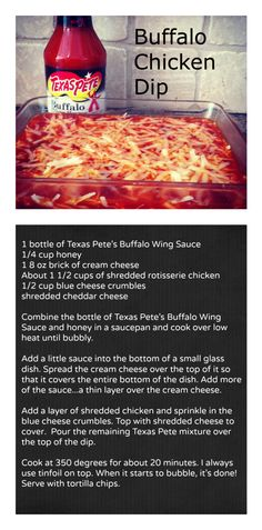 Buffalo Chicken Dip with Texas Pete's Buffalo Wing Sauce