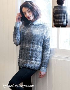 Textured sweater in shades of grey FREE knitting pattern (1/2) (hva)
