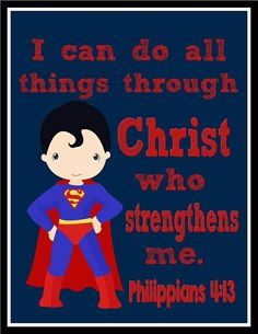 Super Hero Wall Art I Can do all things through by PixiePaperSTL Superhero Wall Art, Superhero Party, Superhero Signs, Superman Nursery, Batman Room, Hero Central Vbs, Lds, Bible Heroes, Kids Church