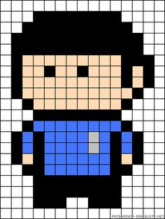 Mr. Spock Star Trek perler bead pattern - Crochet / knit / stitch charts and graphs