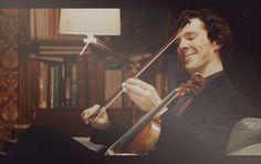 #Sherlock with his violin.