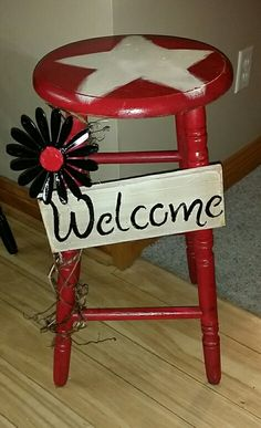 Red Welcome stool