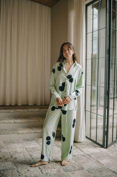 Misty Winter Pyjamas | SUKU Home Mint Background, Bamboo Rayon, Long Winter, Mandarin Collar, Pyjamas, Wide Leg Pants, Coat, Classic, Sleeves