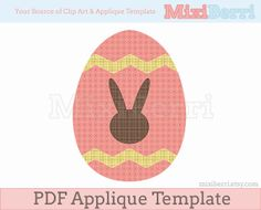 Easter Egg with Bunny Silhouette Applique Pattern PDF by MixiBerri, $1.50