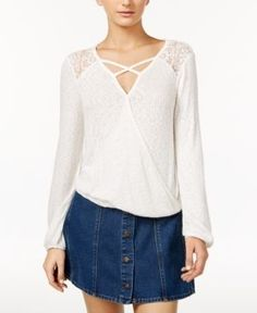 American Rag Mesh-Inset Surplice Top, Only at Macy's - White XXL
