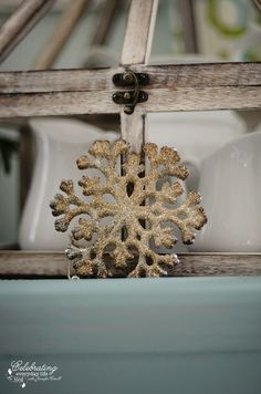 My Christmas Kitchen Decor {Decorating for Christmas}, Miss Mustard Seed Snowflake, German Glass Glitter