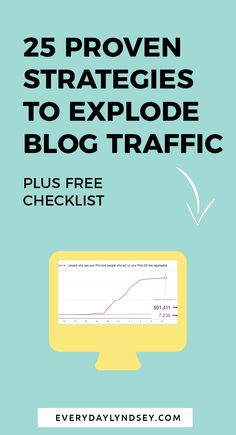 25 Tips for Getting Twice the Traffic to Your Site: The Ultimate Blog Post + Checklist. If you want to get more readers to your blog and increase your traffic this post is for you. These steps will increase the quality of your blog posts and show you the best places to market and share your content. Click through to check out all the tips and get the free checklist. Increase website traffic, where to post your blog, #blogtraffic #bloggingadvice #websitetraffic #bloggingtips
