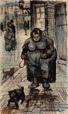 I had to look at this twice: doesn't seem to be a van Gogh. But the internet gods say that it is so. Vincent van Gogh: Woman Walking Her Dog. Paris, 1886. Sketch and study in chalk and ink on paper.  Van Gogh Museum, Amsterdam.
