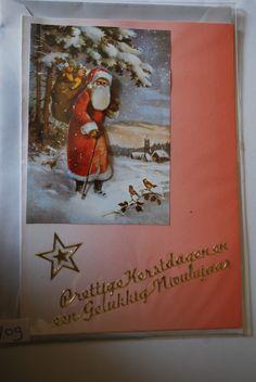 0109, Vintage Kerstman in bos met zak