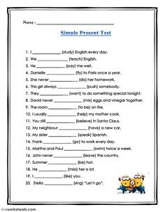 Simple present test Language: English Level/group: grade 6 School subject: English as a Second Language (ESL) Main content: Present Simple Other contents: English Grammar For Kids, Teaching English Grammar, English Worksheets For Kids, English Lessons For Kids, English Study, English Vocabulary, Kids English, Homeschool Worksheets, Money Worksheets