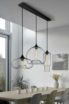 Modern Style 3 Light Pendant Light with Clear Glass Shade for Dining Room Kitchen IslandPENDANTS - Island Pendant Lights - Ideas of Island Pendant Lights Multi Light Pendant, Glass Pendant Light, Pendant Light Dining Room, Pendant Lights Kitchen, Pendant Lamps, Pendant Light Fixtures, Glass Pendants, Modern Light Fixtures, Light Fittings