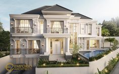 Private House Design Tropical Classic Style by Emporio Architect Classic House Exterior, Classic House Design, Dream Home Design, Modern House Design, Classic Style, House Outside Design, House Front Design, Village House Design, Bungalow House Design