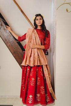 Red Khadi Moghul Lehenga Set with Dupatta Lehenga, Anarkali Churidar, Sharara Suit, Anarkali Dress, Anarkali Suits, Designer Salwar Kameez, Patiyala Dress, Prachi Desai, Indian Ethnic Wear